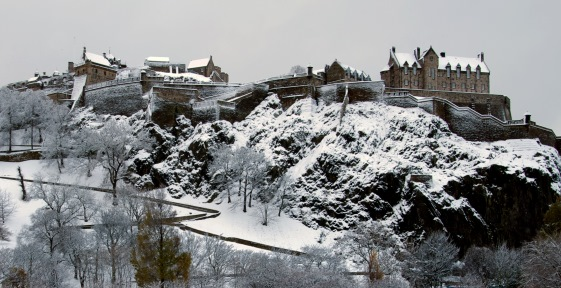 Edinburgh Castle in snow