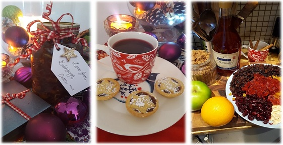 A cup of tea, mince pies and a glass of jam