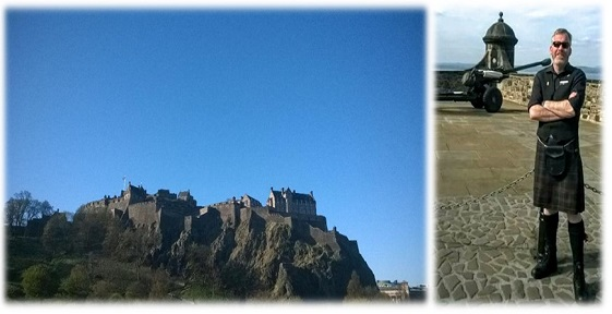Edinburgh Castle seen from afar and a picture of tour guide Donal