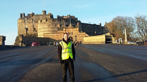 Euan in front of Edinburgh Castle
