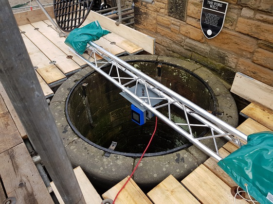 Scaffolding in place as the scanner is positioned over the well.