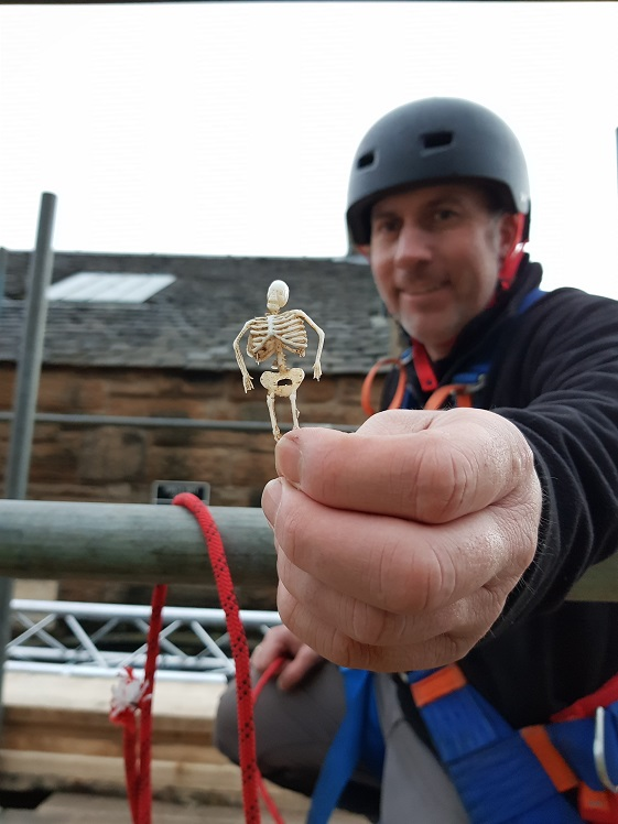 A man in a hard hat holds up a tiny plastic skeleton to the camera