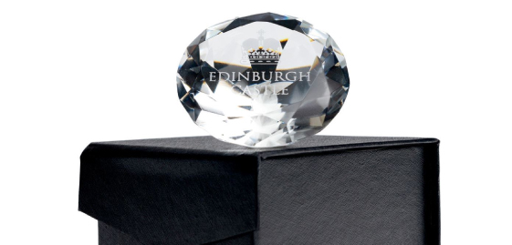 Edinburgh Castle Crown Diamond Paperweight