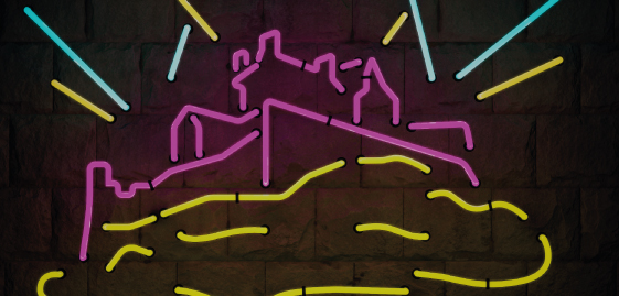 An artist's impression of Edinburgh Castle fromed using colourful neon lines.