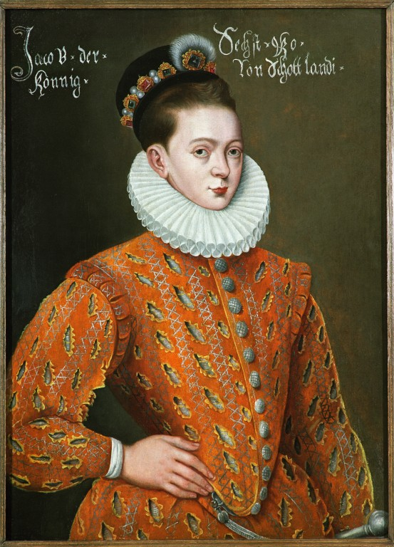 A portrait of a young James VI. He is wearing an ornate orange outfit with a large white ruff. Twelve silver buttons run down the middle of the outfit. James' hair is brown and he wears a bejeweled crown or headdress.