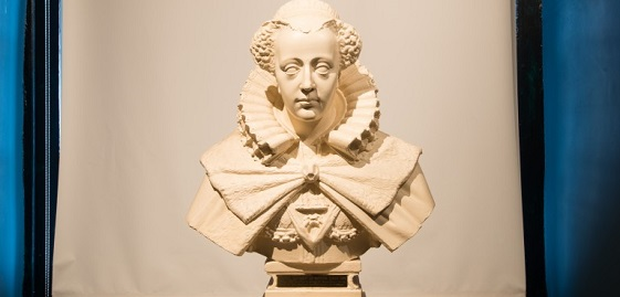 A plaster cast of a bust of Mary Queen of Scots