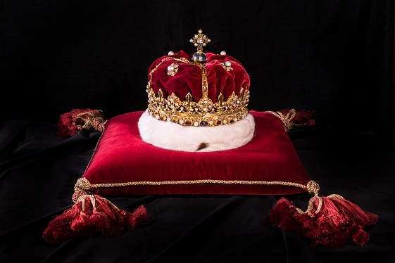 A crown sits of a red velvet cushion