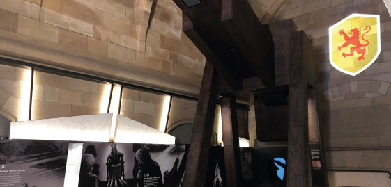 A replica trebuchet within the new exhibition