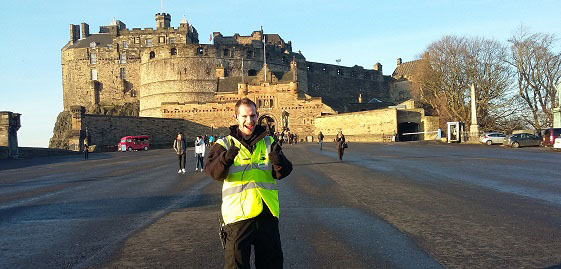 Euan in front of Edinburgh Castle