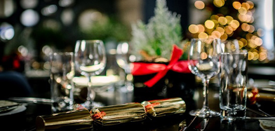A table laid for Christmas lunch