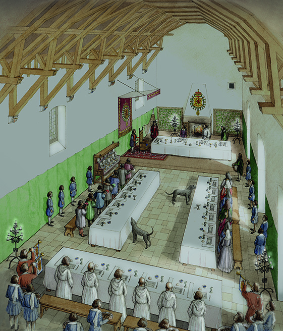 An artist's impression of a feast in Edinburgh Castle's Great Hall