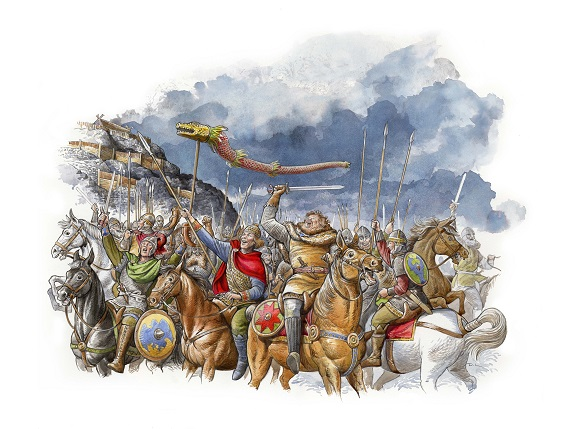 Illustration of Gododdin warriors by David Lawrence.