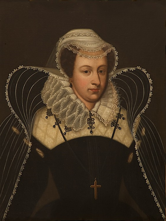 A portrait of Mary Queen of Scots in a black dress and a large white ruff.