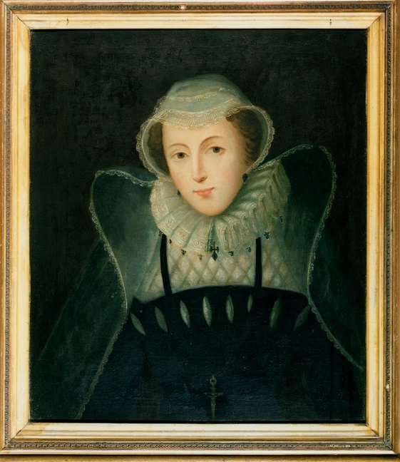 Portrait of Mary, Queen of Scots wearing black clothing with a white ruff.