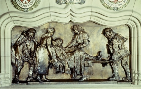 Detail of hospital scene on the shrine in the Scottish National War Memorial at Edinburgh Castle