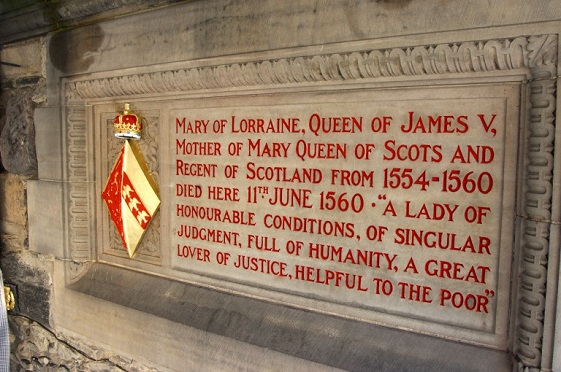 Stone panel commemorating Mary of Guise (or Lorraine) at Edinburgh Castle