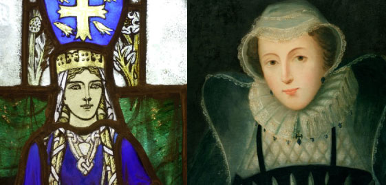 Close up images of a stained glass depiction if St Margaret and a portrait of Mary, Queen of Scots