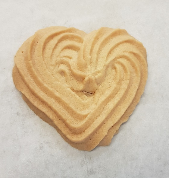 heart-shaped biscuit made by piping
