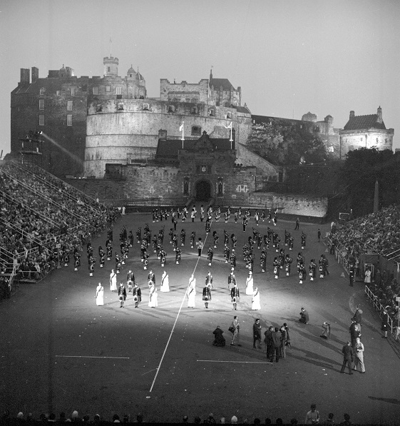 A view of Scottish Country Dancing at the Tattoo at Edinburgh Castle during the Edinburgh International Festival