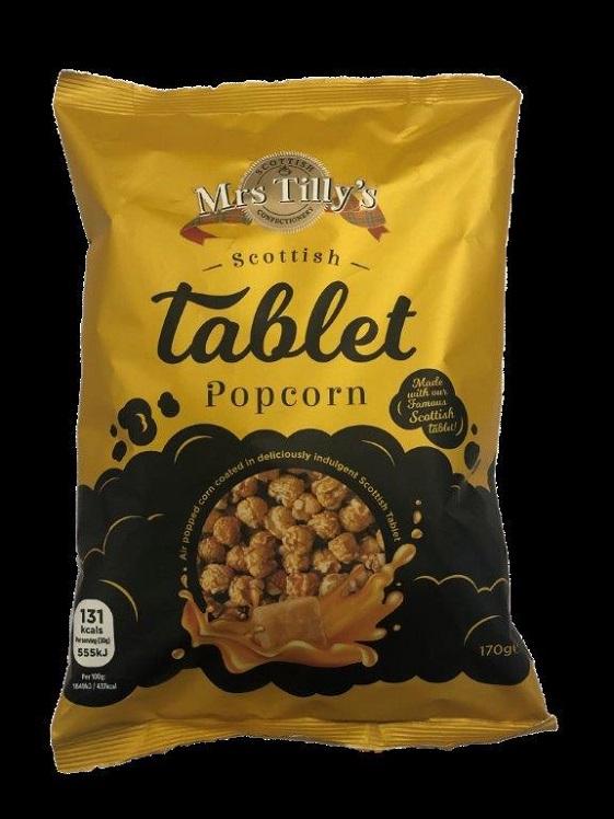 A bag of Mrs Tilly's Scottish tablet popcorn.