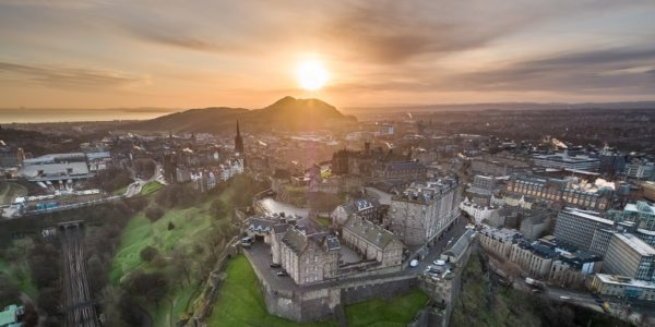 aerial view of Edinburgh Castle at sunrise