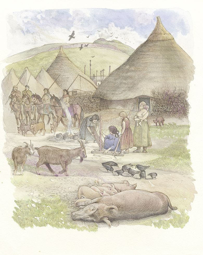 drawing showing thatched roundhouses with people and domesticated animals.