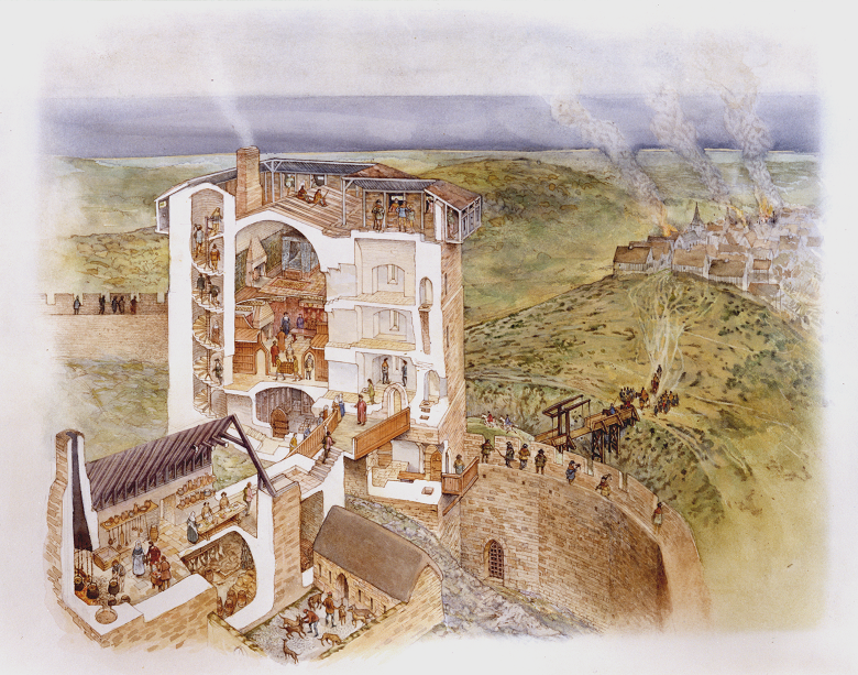 artist's reconstruction showing the interior of David's Tower.