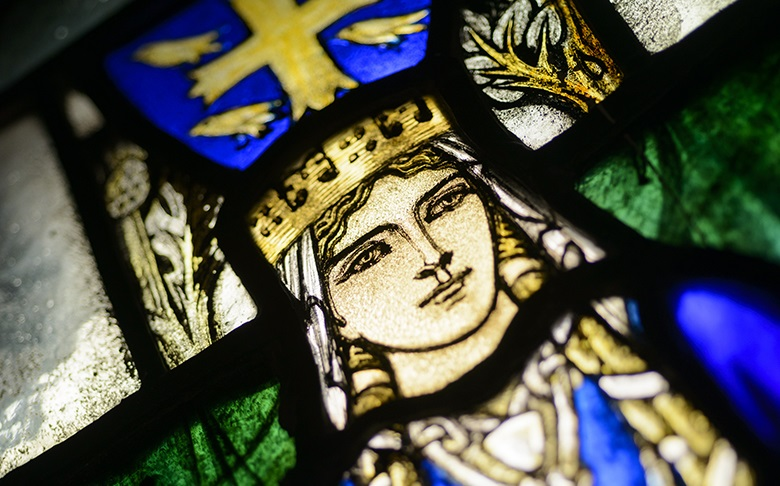 Stained-glass at St Margaret's Chapel, Edinburgh Castle, depicting St Margaret added to the Chapel in 1922.