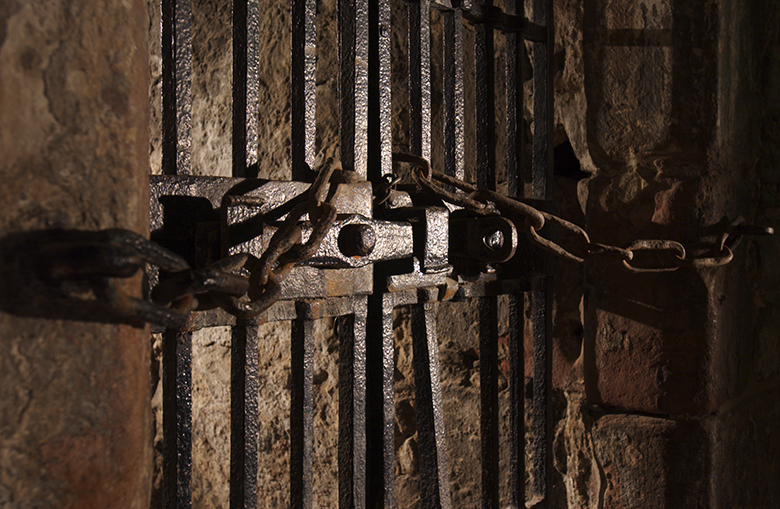 A heavy door, featuring heavy iron bars and locks.