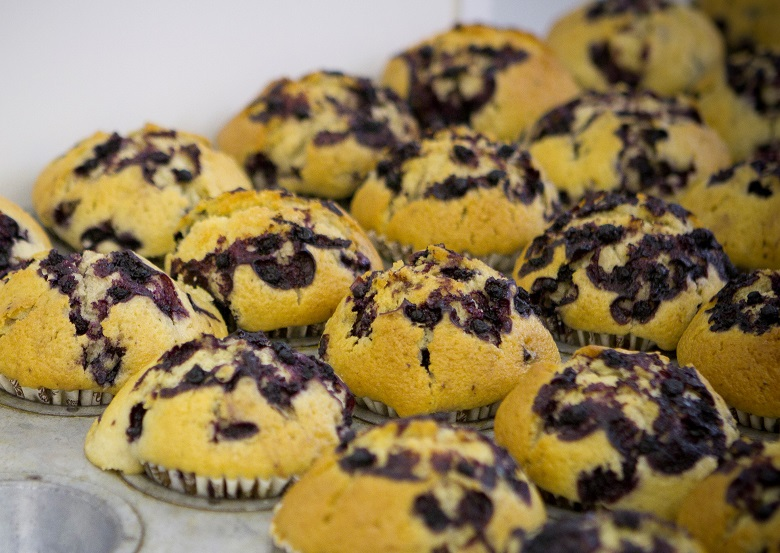A tray of chocolate chip muffins