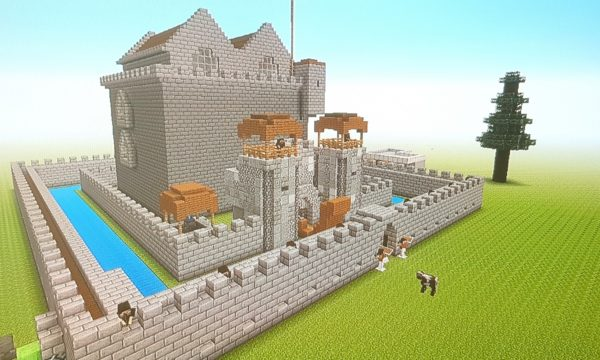 View of a castle in Minecraft