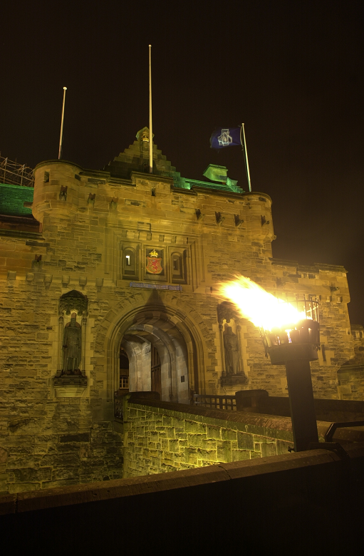 entrance to Edinburgh Castle with brazier or torch burning outside