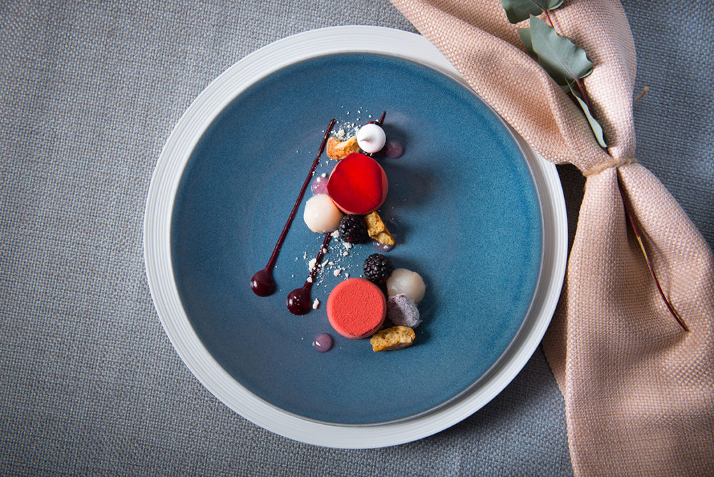 plate with dessert on