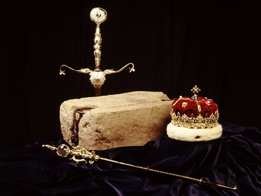 sword, sceptre, crown and stone